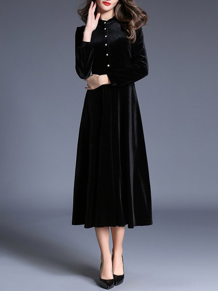 Black Elegant Stand Collar Buttoned Solid Madi Dress