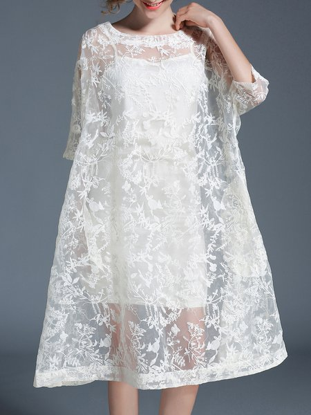White H-line Embroidered Half Sleeve Dress With Top