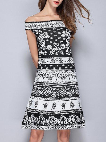 Black Short Sleeve Off Shoulder Midi Dress