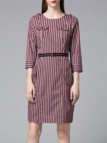 Wine Red Elegant Stripes Pockets Midi Dress