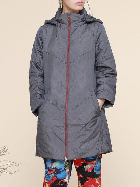 Blue Checkered/Plaid Hoodie Long Sleeve Coat