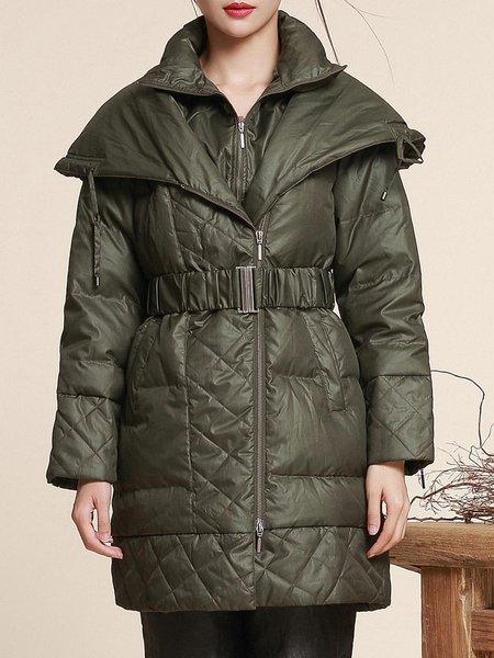 Green H-line Solid Long Sleeve Pockets Coat