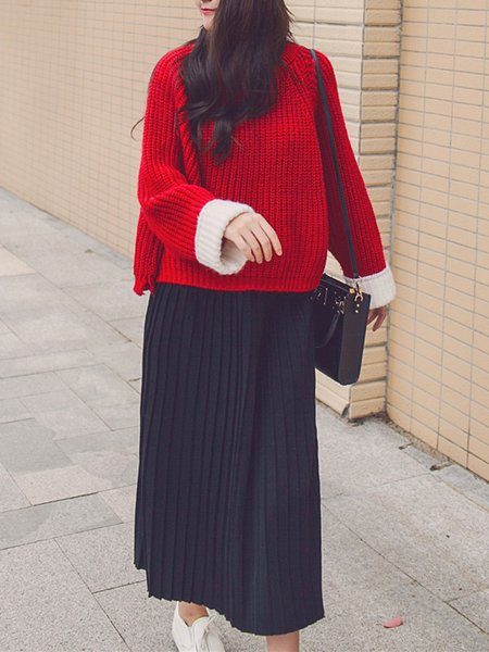 Crew Neck Casual Knitted Long Sleeve Pleated Top With Skirt