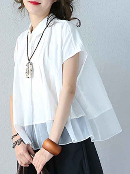 Solid Casual Cotton Tiered Short Sleeve Linen Top
