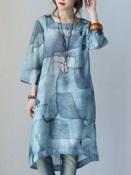 Printed Abstract 3/4 Sleeve Square Neck Casual Linen Dress