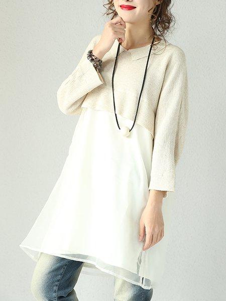 Beige Shift Shirt Collar Cotton Casual Linen Dress