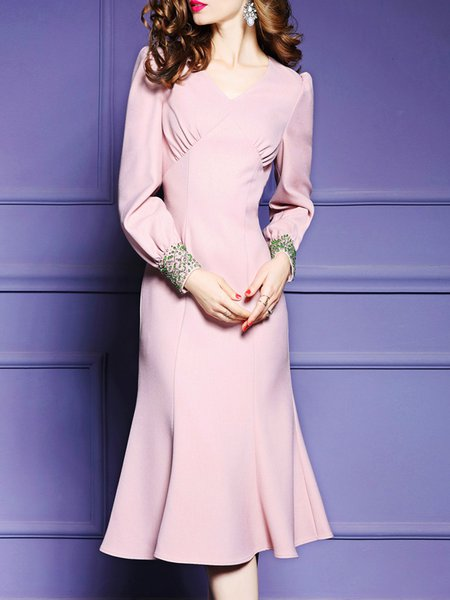 Elegant Pink Beaded Flounce Midi Dress