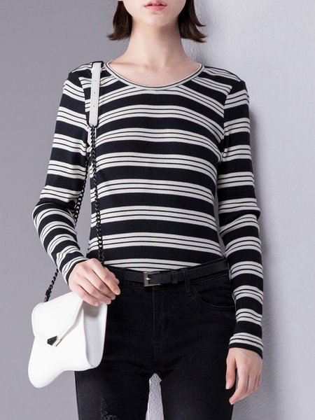 Casual Stripes Cotton Long Sleeved Top