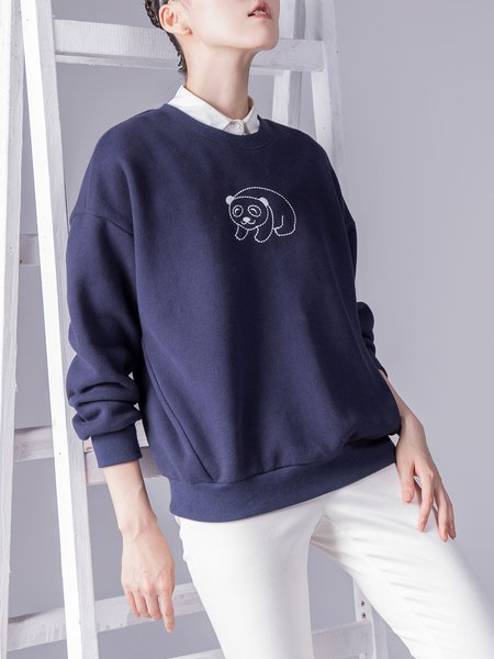 Long Sleeve Embroidered Casual Sweatshirt
