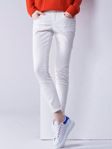 White Casual Plain Cotton Skinny Leg Pants