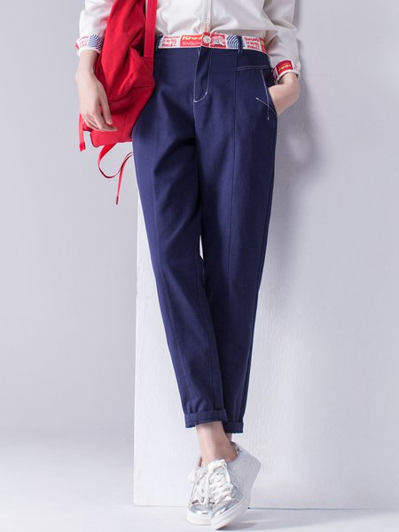Navy Blue Cotton Casual Pockets Straight Leg Pants