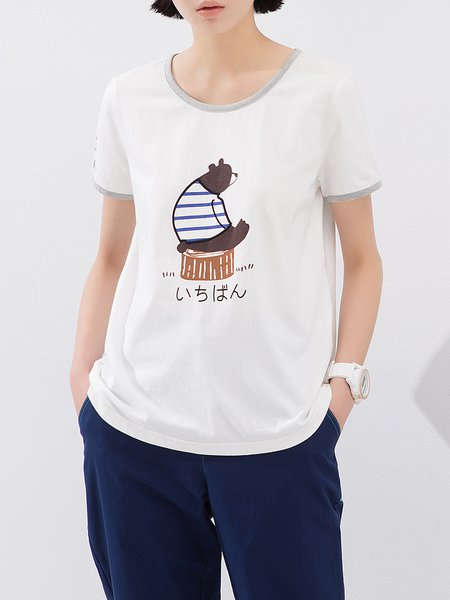 White Printed Casual Cotton T-Shirt