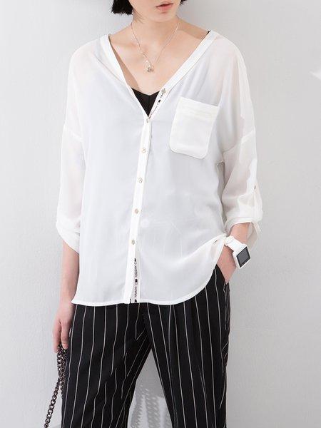White V Neck Plain 3/4 Sleeve Blouse