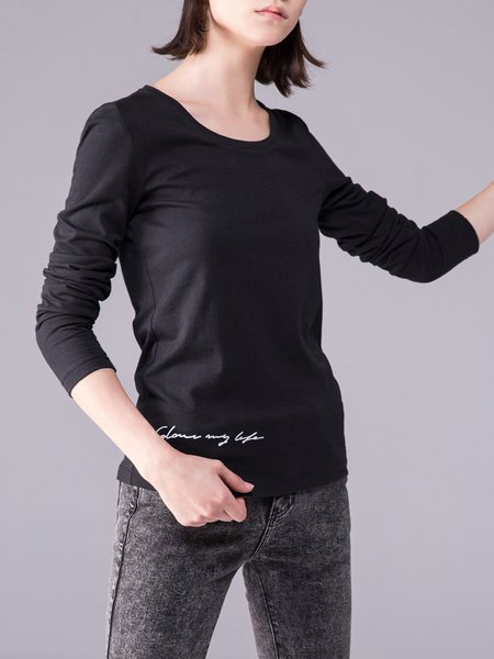 Black Plain Crew Neck Cotton Long Sleeved Top