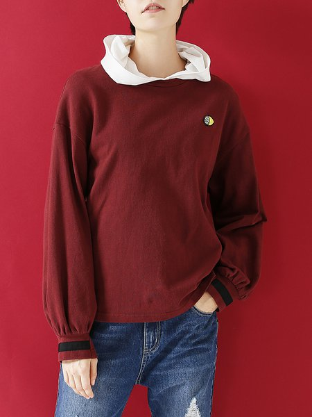 Patch Cotton Solid Crew Neck Long Sleeved Top