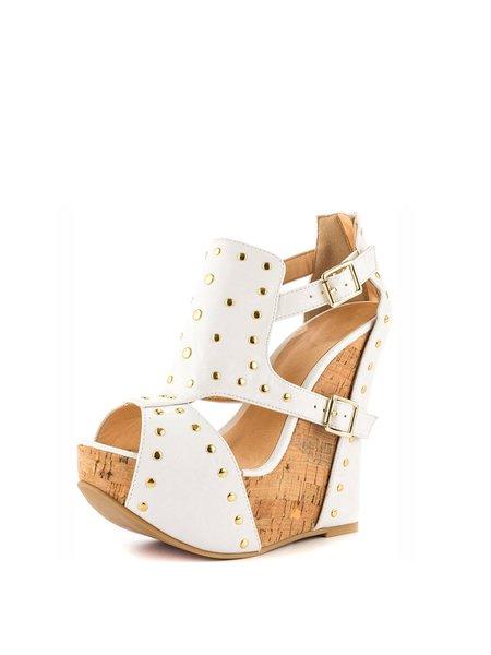 White Summer Buckle Wedge Heel PU Heels