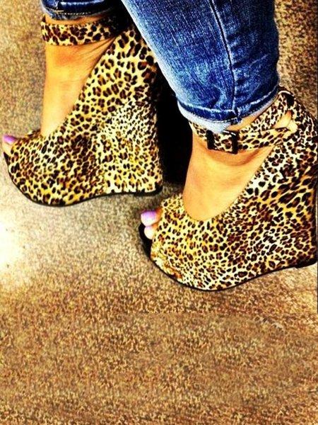 Yellow Buckle Casual Suede Wedge Heel Summer Heels