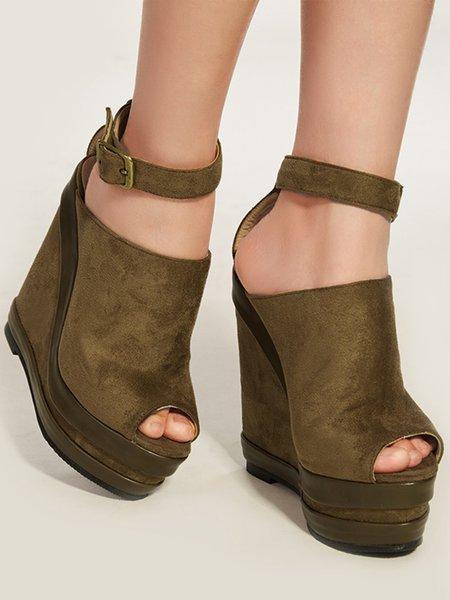 Khaki Spring/Fall PU Buckle Wedge Heel Heels