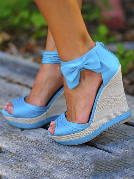 Blue Spring/Fall Zipper Casual Heels
