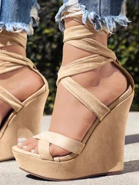 Apricot Leather Casual Spring/Fall Wedge Heel Lace-up Heels