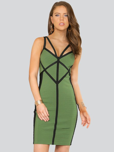 Olive Green Spaghetti Sexy Bodycon Plain Mini Dress