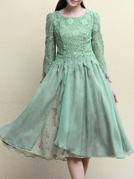 Long Sleeve A-line Elegant Lace Paneled Midi Dress