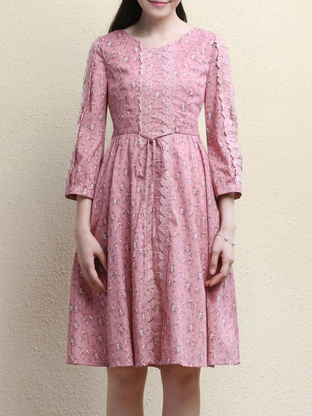 Pink Floral Long Sleeve A-line Lace Paneled Midi Dress