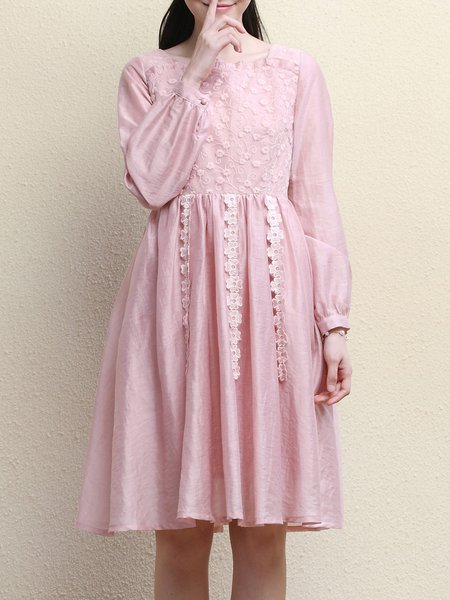 Vintage Long Sleeve A-line Lace Trimmed Midi Dress