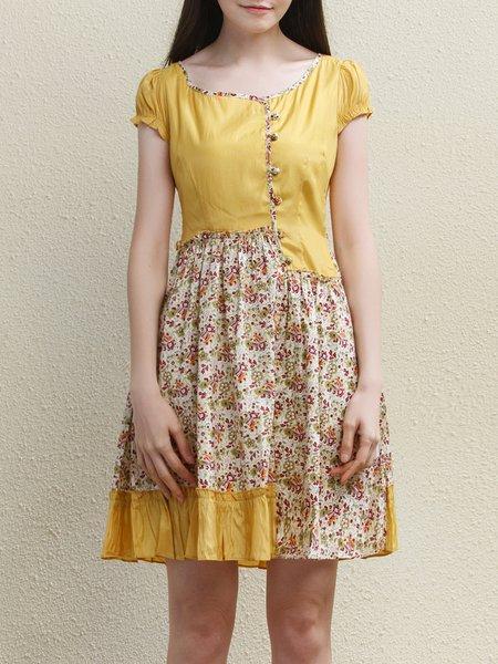 Yellow Floral-print Short Sleeve Mini Dress