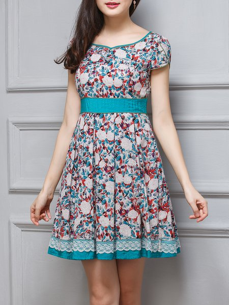 Floral Short Sleeve A-line Folds Girly Mini Dress