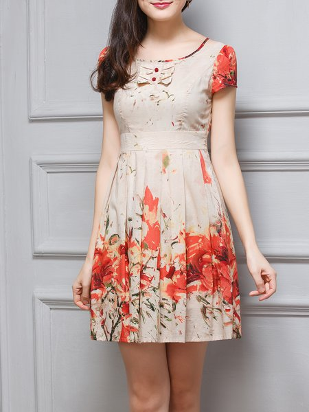 Orange Folds Cotton Floral Girly Mini Dress