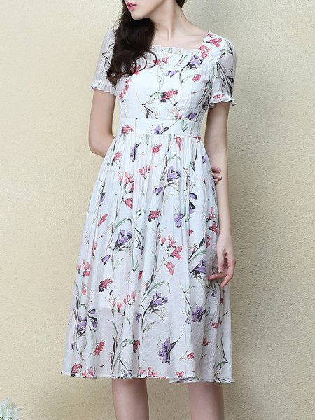 Elegant Frill Sleeve Floral A-line Midi Dress