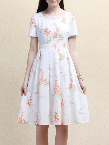 White Floral Short Sleeve Crew Neck A-line Midi Dress