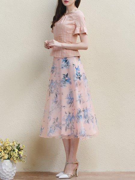 Pink A-line Elegant Chiffon Midi Skirt - StyleWe.com