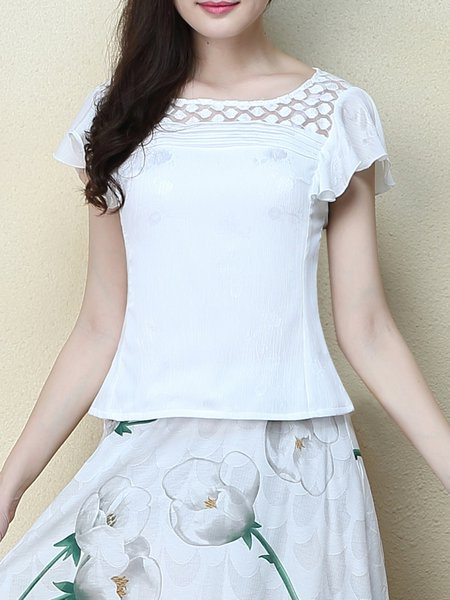 White Elegant Ruffled Short Sleeved Top