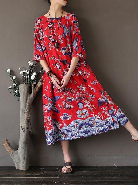 3/4 Sleeve Printed Casual Bateau/boat Neck Linen Dress