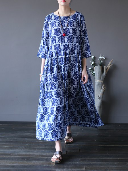 Shift 3/4 Sleeve Cotton Printed Dress