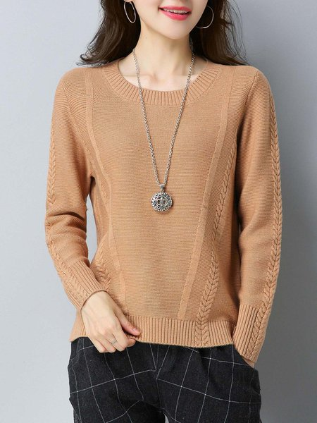 Crew Neck Solid Casual Slit Sweater