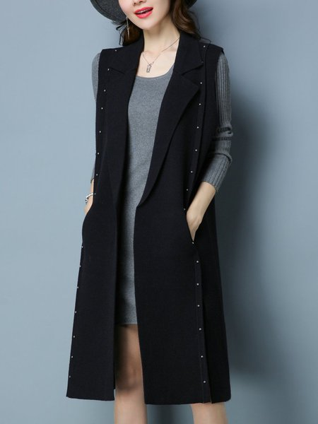 Sleeveless Lapel Pockets Casual Vests And Gilet