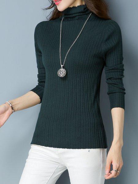 Ribbed Elegant Acrylic Long Sleeve Sweater