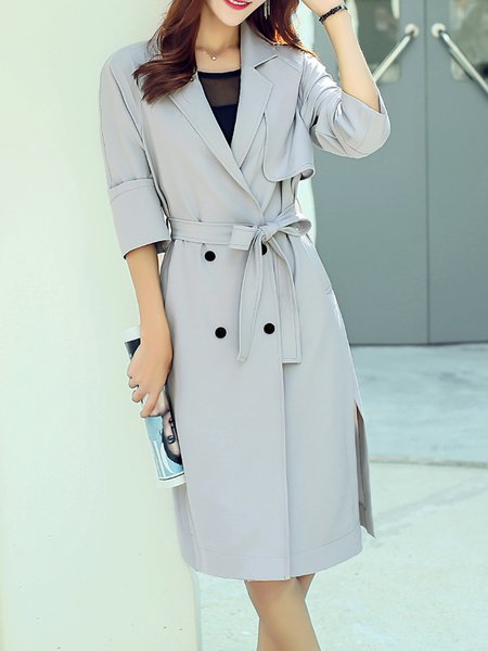 Long Sleeve Lapel Elegant Polyester Slit Trench Coat With Belt