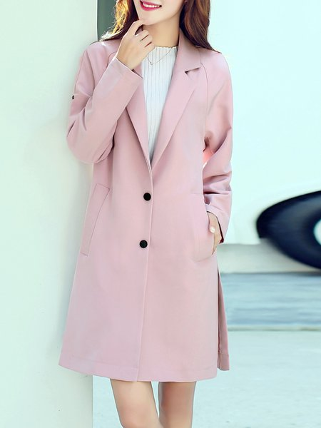 Simple Solid Slit Long Sleeve Lapel Coat