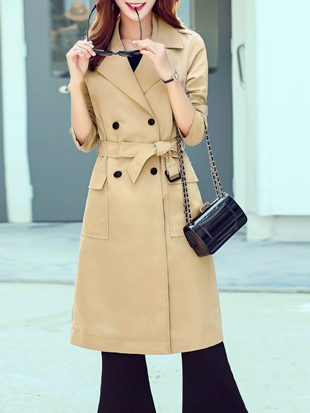 Khaki H-line Plain Elegant Polyester Trench Coat With Belt