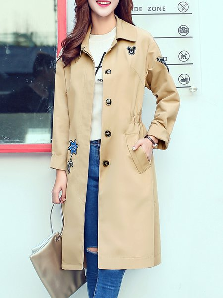 Khaki H-line Embroidered Long Sleeve Graphic Coat