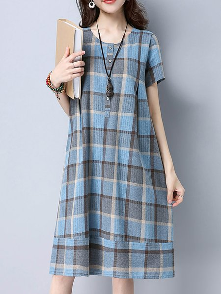 Checkered/Plaid Crew Neck Short Sleeve Buttoned Midi Dress