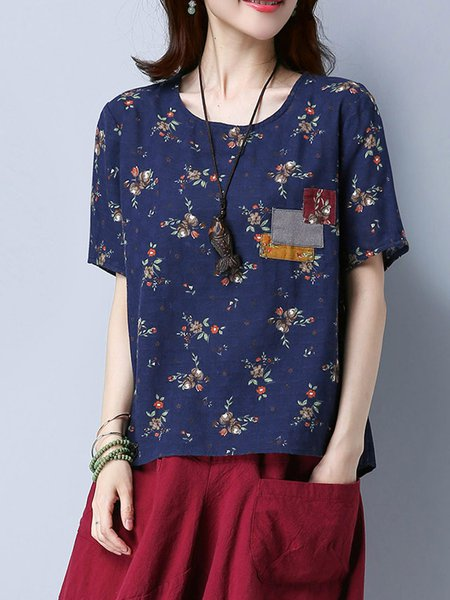 Casual Floral Cotton Printed Short Sleeved Top