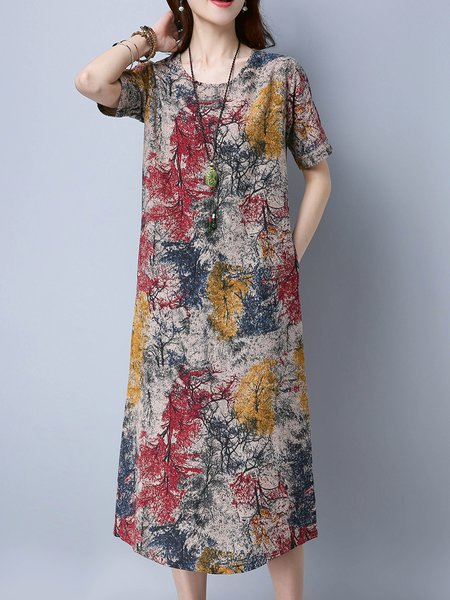 Printed Cotton Short Sleeve Casual Crew Neck Midi Dress