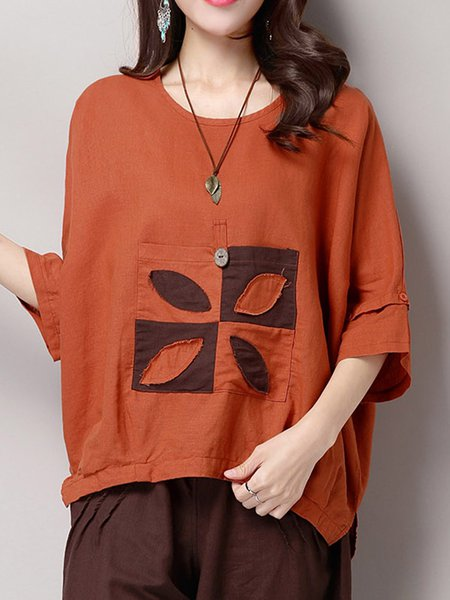Crew Neck Paneled Casual Batwing Long Sleeved Top
