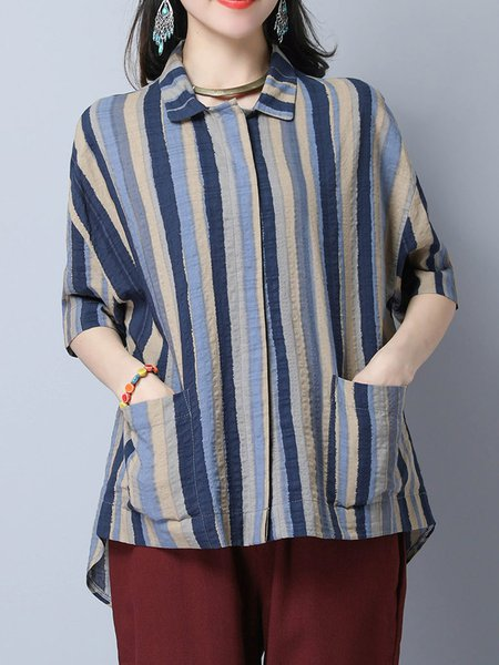 Shirt Collar Short Sleeve Stripes Casual Blouse