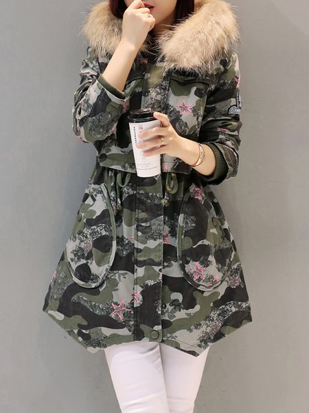 Army Green Casual Geometric Hoodie Parka